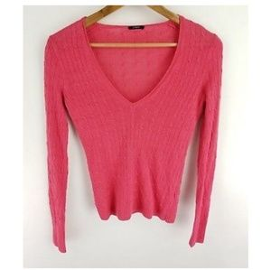 J Crew Sweater Pink Cable Knit V-neck Size XS SM